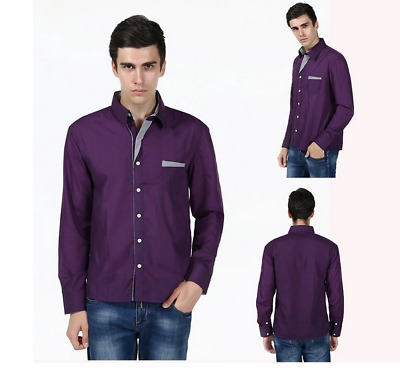 Business Office Work Men Slim Fit Long Sleeve Casual Shirts Tops Blouse T-shirt
