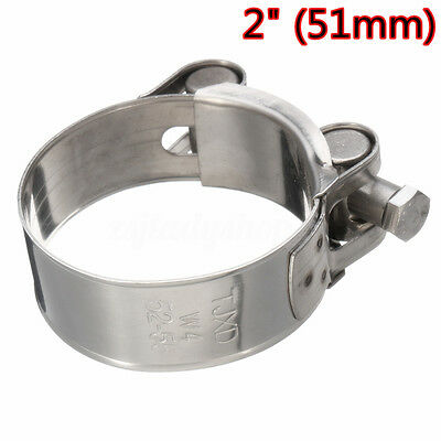 2'' 51mm Stainless Steel Muffler Exhaust Downpipe Clamp Kit Motorcycle Universal
