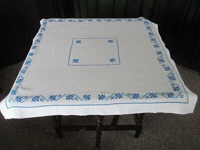Vintage Hand Embroidered Tablecloth - Cross Stitch