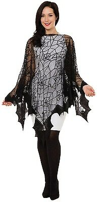 Mens Ladies Spider Web Bat Halloween Horror Scary Fancy Dress Costume Cape Cloak