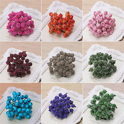 40PCS Mini Christmas Frosted Berry Fruit Artificial Craft DIY Decor Table Decor