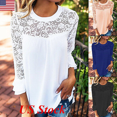 Fashion Women Summer Loose Casual Chiffon 3/4 Sleeve Lace T Shirt Tops Blouse US