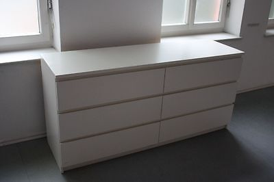 ikea malm kommode mit 6 schubladen wei 160 cm eur 65 00 picclick de. Black Bedroom Furniture Sets. Home Design Ideas