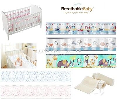 Breathable Baby Cot Bed Mesh Liner Airflo Safety Panel Bumper Nursery Bedding