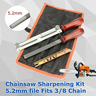 "5Pcs Chainsaw Sharpening Filing Kit 5.2mm File Fit for Stihl 3/8"" Pro Chain"