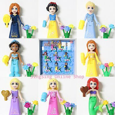 8Pcs Princess Ariel Cinderella Snow White Belle Merida minifigure Fit Lego