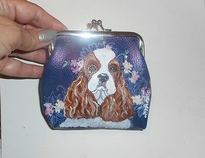 American Cocker Spaniel dog Hand Painted Leather Coin Purse Vegan Mini wallet