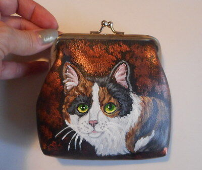 Calico cat Hand Painted Leather Coin Purse Vegan Mini wallet Purse