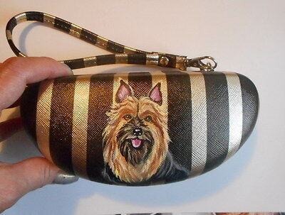 Silky Toy Terrier Dog Hand Painted Eyeglass Case vegan Sunglass Case