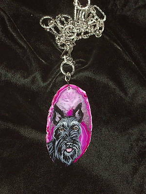 Scottish Terrier dog Tibetan chain Necklace Hand Painted Agate Pendant