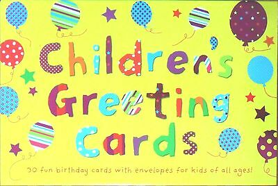 Children's Greeting Cards, 30 Fun Birthday Cards & Envelopes Boxed Set - NEW