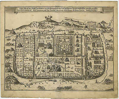 Antique Map-JERUSALEM-ISRAEL-JEWS-TOWN PLAN-Fleischmann-1708
