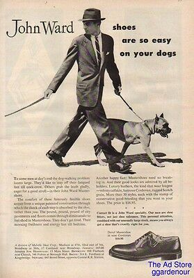 1954 Melville Shoe Corp John Ward Shoes So Easy On Your Dogs Vintage Boxer Ad