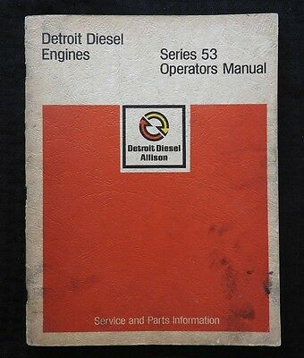 1973 Detroit Diesel Series 53 Allison Engines Operators Parts Tune-Up Manual Vg