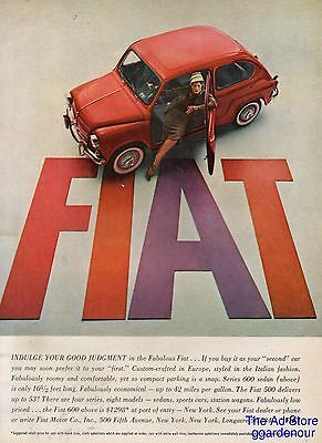 1958 Red Fiat Series 600~Vintage 1950s Italian Car Photo Ad