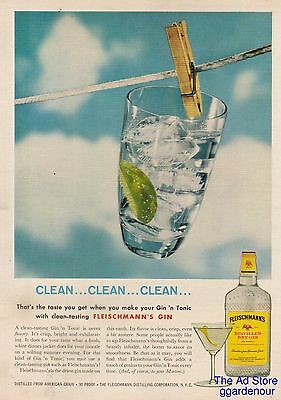1959 Fleischmann's Gin 'n Tonic Cocktail~Clothesline~Clothespin~Clean..Clean..Ad
