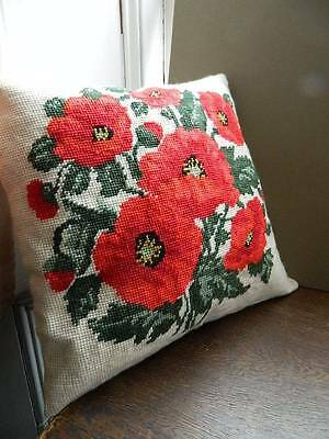 Vintage Country House style cushion cover hand worked tapestry  ~ Red Poppies