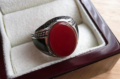 925 Sterling Silver Oval Red Rust Agate Mens Signet Ring Size Q 8.5