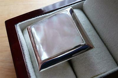 925 Sterling Silver White Mother Of Pearl Large Square Ring Sz M 6.5