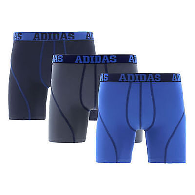 Pack of 3 New 2017 Adidas Mens Climalite Performance Boxer Brief Grey/Blue/Black