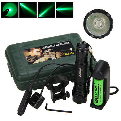 Tactical 5000LM Q5 Green LED Military Flashlight Torch Rifle Light 18650 Lamp