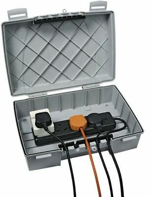 Timeguard Weatherproof Box with 4 Gang Socket Extension Block Lead Outdoor Large