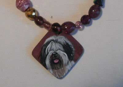 Old English Sheepdog Beaded 20 inch Necklace Hand Painted Ceramic Pendant