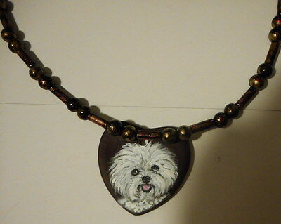 Bichon Frise Dog Beaded Necklace Hand Painted ceramic Pendant