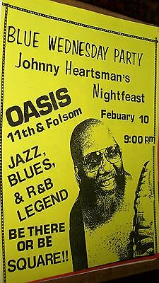 Johnny Heartsman's NightFeast Show Flyer Oasis San Francisco 1988 Original Mint