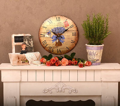 Nostalgia Wall Clock Kitchen Watch Lavender French Country House Style Antique