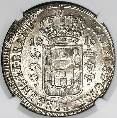 1816-B NGC MS 62  BRAZIL Silver 960 Reis Overstruck Mexico 8 Real (17041108D)