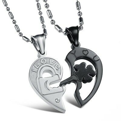 "Stainless Steel Couple ""Love You"" Romantic Heart Pendant Necklace Men Women Gift"