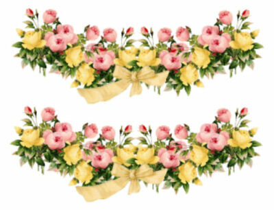 Vintage Image Shabby Pink Yellow Roses Swag with Bow Waterslide Decals FL229