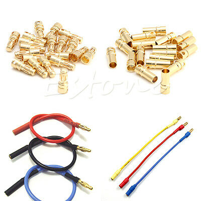 20 Pairs 3.5mm Golden Male + Female Bullet Banana Plug Connector For RC Battery