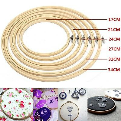 6x Bamboo Wooden Cross Stitch Machine Embroidery Hoop Ring Sewing Tool 17-34cm