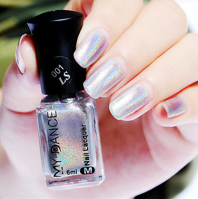 Holographic Holo Glitter Silver Nail Polish Laser Rainbow Hologram Varnish 6ml