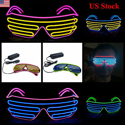 Neon LED Light Up Shutter EL Wire Glasses Glow Frame Dance Party Nightclub USA