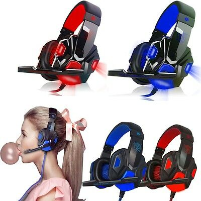 Surround Stereo Gaming Headset Headband LED Headphone USB 3.5mm Mic for PC Phone