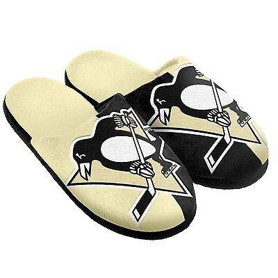 Pair Pittsburgh Penguins Big Logo Slippers NEW NHL - Split Color House shoes