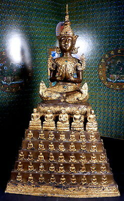 VINTAGE LARGE BRONZE BURMESE BUDDHA ON BUDDHA THRONE STATUE 19.5 inches tall.