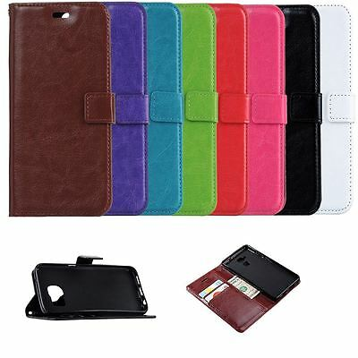 Genuine Leather Flip Magnetic Credit Card Case Cover for Various Mobile Phones