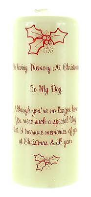 Large In Loving Memory At Christmas Graveside Candle - To My Dog