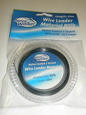Jarvis Walker Black Nylon coated Wire trace leader 10m + crimps  ALL VARIETIES