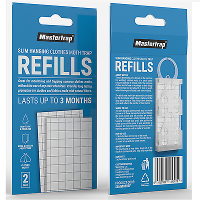 Pack of 2 Refills Only MasterTrap Moth Trap Pheromone Glue Pads Boards