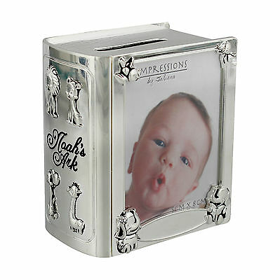 Noah's Ark Silver Plated Book Photo Money Box New Baby Christening Gift CG890