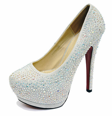 Ladies Silver Diamante Stiletto High Heel Platform Slip-On Court Shoes Sizes 3-8