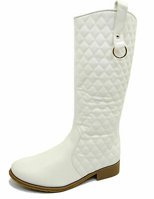 Ladies White Biker Knee-High Riding Tall Cowboy Zip-Up Western Boots Shoes 3-8