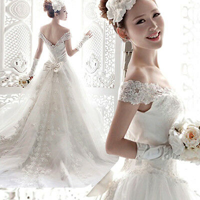 White Wedding dress Bride's Dress Lace Gown Ball Gown Halter dress Lace up F003