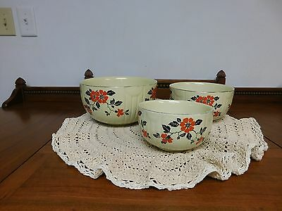 Vintage Set o3 Hall Red Poppy Nesting Mixing Bowls