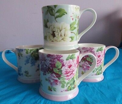 QUEEN BONE CHINA MUGS SANDERSON DESIGN Sorilla Pink & Blue and Peony Tree V.G.CO